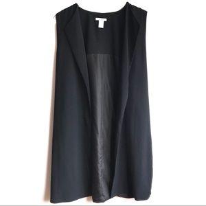 Bar III Black Long Open Front Suit Vest Jacket XL
